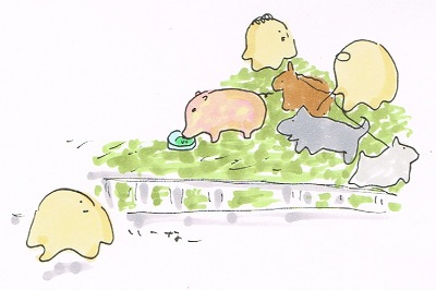 豚のお散歩の人