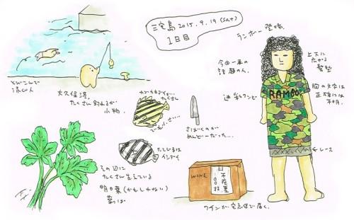 三宅島キャンプ2015SW_1日目_絵日記