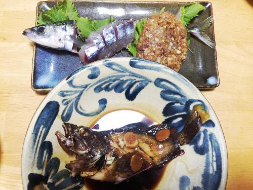 釣魚料理_カサゴの煮付とムロアジの刺身、なめろう