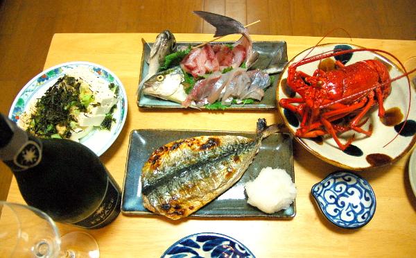 釣魚料理_イサキと子カンパチの刺身、ボイル伊勢海老