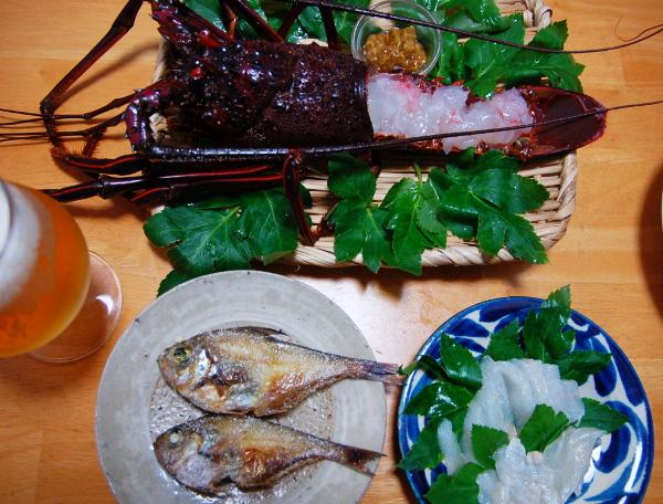 釣魚料理_カワハギ刺身、ハタンポ塩焼き、伊勢海老刺身、フエフキダイのべっこう丼