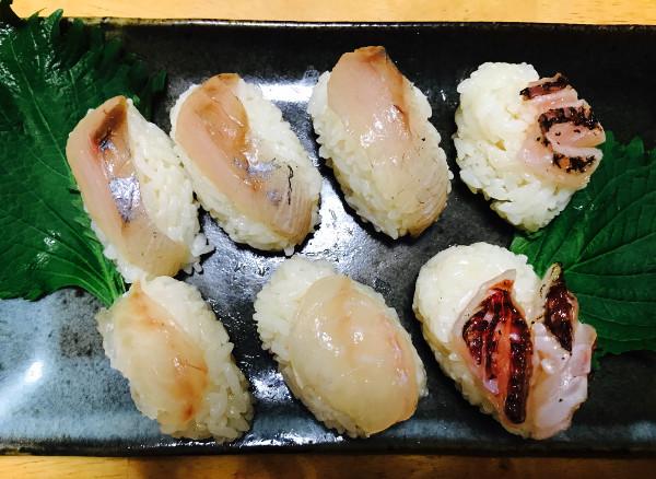 釣魚料理_適当寿司(カンパチ、アカハタ、オジサン)