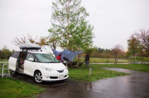 北海道から南下の旅_5日目_2_つがる地球村で雨キャンプ
