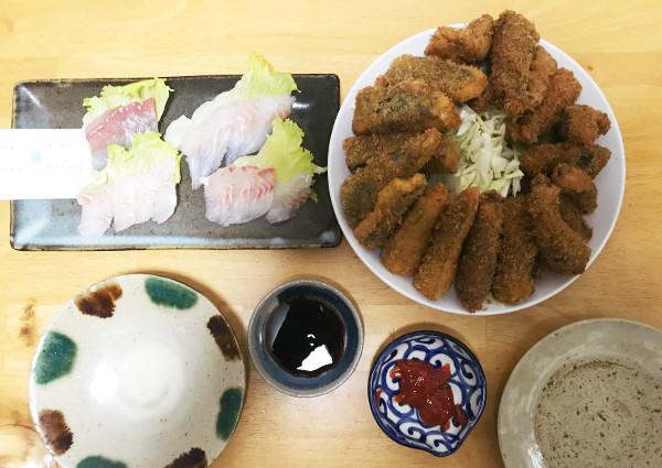 釣魚料理_刺身4種盛りとサバフライ