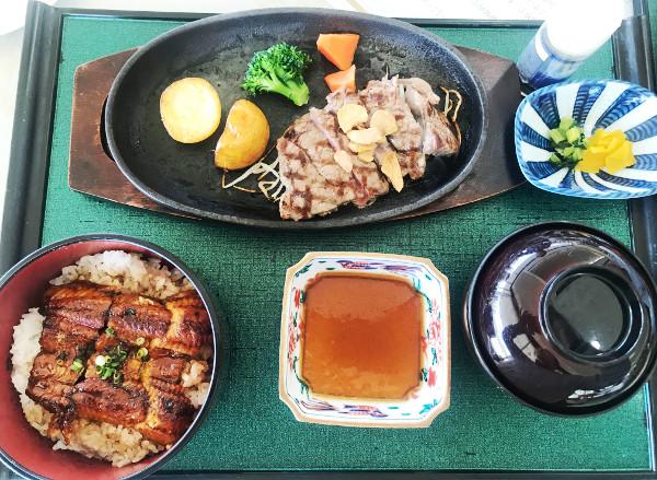 千成ゴルフクラブ_食事_ステーキと鰻丼