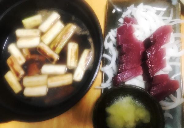 もらいもの釣魚料理_ねぎま鍋とカツオ刺身