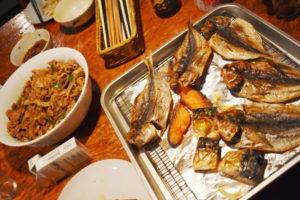 小白沢ヒュッテ小屋閉め2019_3日目_肉や魚を食べつくす