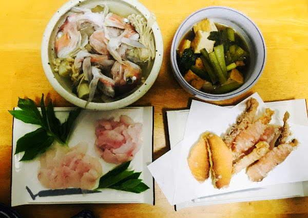 釣魚料理_アマダイの松笠揚、刺身、酒蒸、カレイとホウボウの唐揚