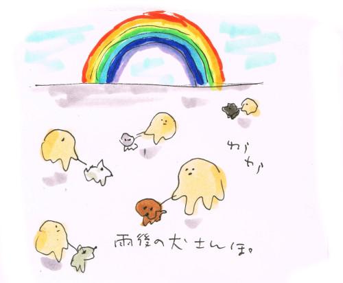 雨後の犬散歩と虹の色数